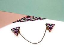 Triangle Collar Clips - Pair Of Patterned Geometric Collar Tips / Pins Brooches Geometric Collar Clips