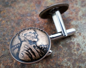 70th Birthday 70th Anniversary Gift 1946 Penny Cuff Links made from a 1946 Penny Coin Jewelry Gift for Men