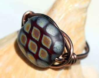 Wire Wrapped Ring, Antique Copper Ring, Czech Bead, Jewelry, Customizable, Wire Ring