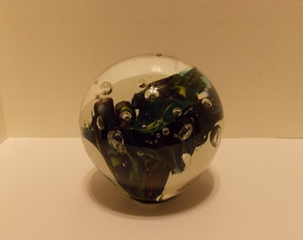 Vintage Art Glass Paperweight Signed MINGO 1992