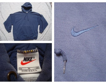 Vintage Retro Men's 90's Nike Blue Hoody Hoodie Jacket XL Made in the USA