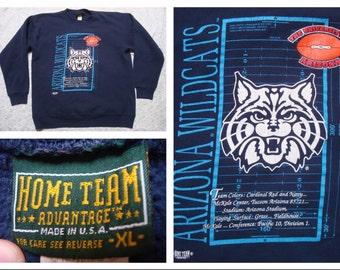 Vintage Retro Men's University of Arizona Sweatshirt UofA Wildcats Red Blue Football Sweatshirt XL Made in the USA