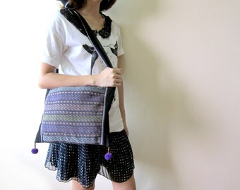 Purple Shoulder Bag, Cross body bag, Pom pom Embroidered Handmade by Hmong in Thailand. (KP1014)