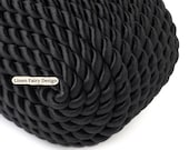 5 meters Twisted Cord 5 mm Black Rayon / Cotton Cord for Jewelry Decorations SS1903