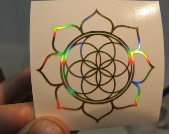 "Lotus Seed of Life Sticker, Prismatic Rainbow Silver or Gold,  2"" Size"