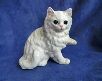 White Ceramic Kitty Cat Figurine
