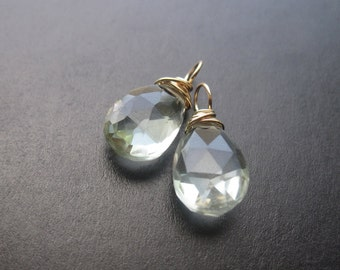 GREEN AMETHYST wire wrapped gemstone Interchangeable Earring drops, dangles, charms, Pair of genuine briolettes