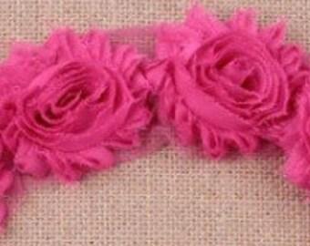 Shabby Chiffon Rose Flower, Shabby Flower Trim, Wholesale Shabby Flowers, DIY headbands, chiffon rose flower