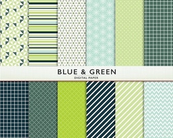 MEGA SALE Digital Paper - Blue And Green - Personal and Commercial -Instant Download & Printable G7553