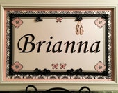 18 x 12 Custom Name Poster Brianna - Match to Lambs & Ivy Duchess Bedding with White Frame