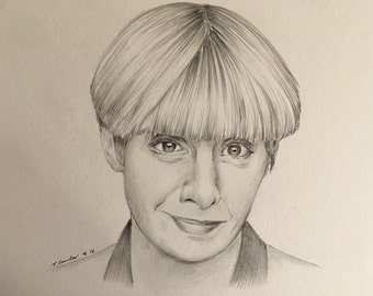 Victoria Wood original pencil drawing A4 fan-art