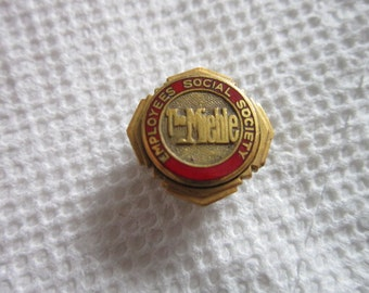 Vintage 10 K Gold Filled & Enameled Employees Social Society Pinback  The Mieble