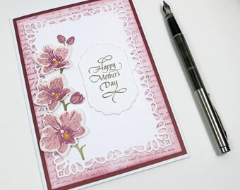 Purple Orchid Mother's Day Card, Happy Mothers Day, Mum's Day, Orchid Card, Handmade Card