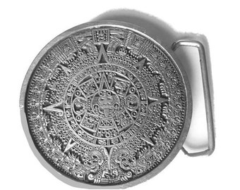 Vintage Mayan Calendar Belt Buckle - Tzolkin - 260 Year - Round - Aztec - Gift Idea - Design - Sundial - Mesoamerican