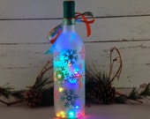 Snowflake decor, Christmas wine bottle accent lamp, hand painted, multicolored Christmas lights