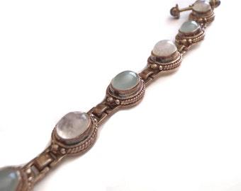 Chalcedony Moonstone Bracelet,  Sterling Gemstone Link Bracelet, Nepal Beaded Bangle, Vintage Himalyan Jewelry