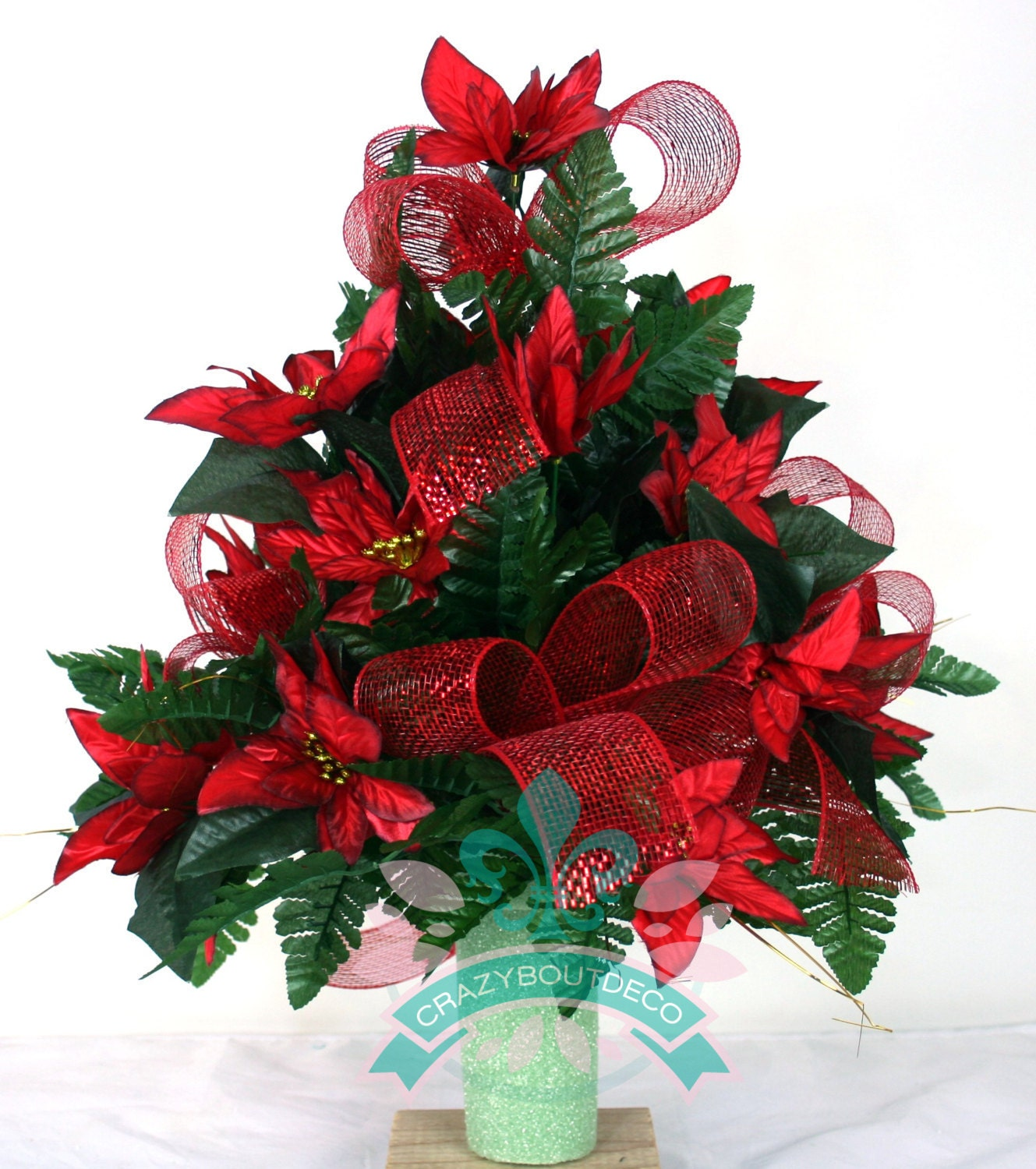 Beautiful Xl Red Poinsettia 39 S With Deco Mesh 3 By