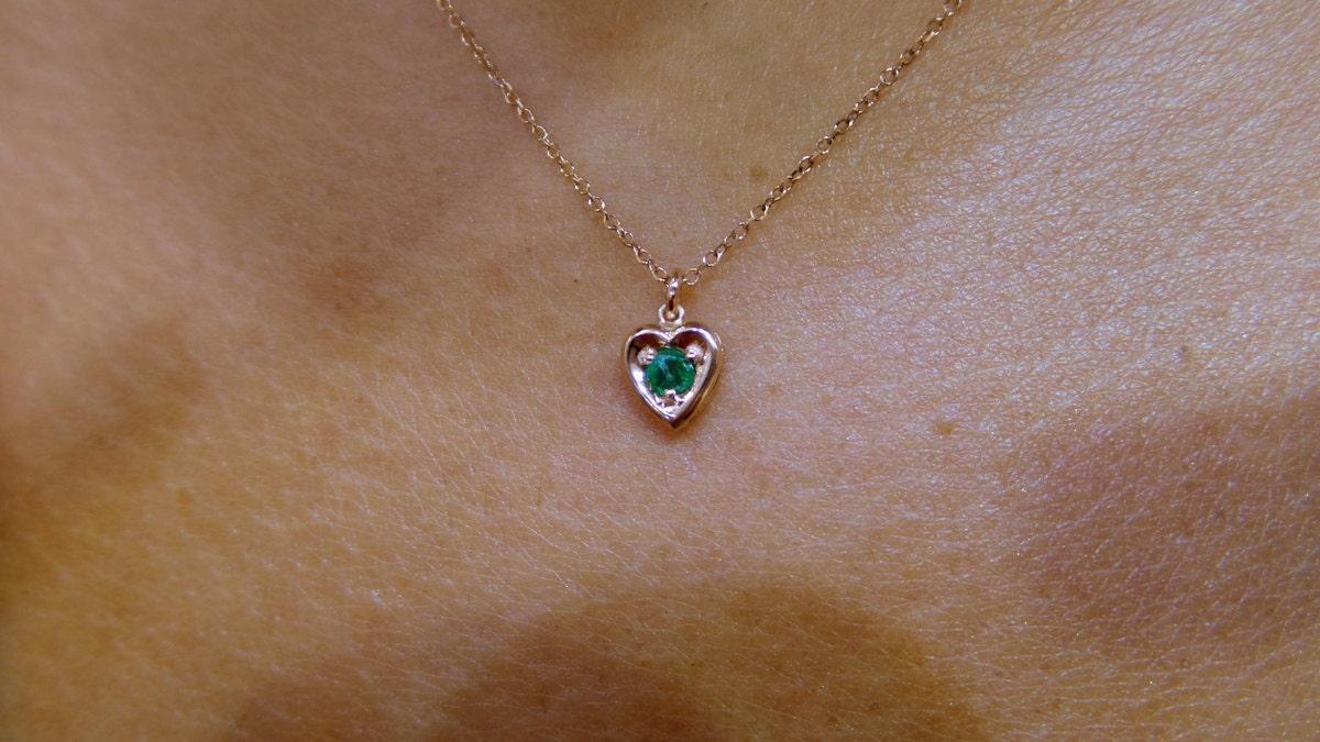 Emerald heart pendant 14k rose gold gold 14k emerald heart emerald heart pendant 14k rose gold gold 14k emerald heart necklace 013ct mini heart necklace genuine emerald heart necklace aloadofball Images