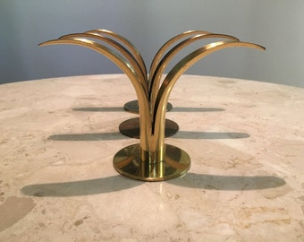 Mid Century Ystad brass candle holders