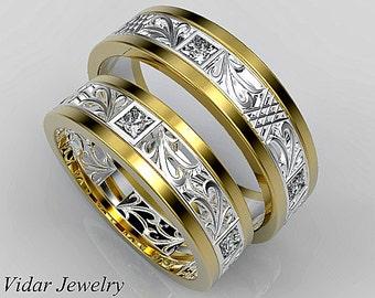 Wedding BandWedding RingHis and Hers 14K Diamond Wedding