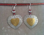 OOAK Silver Brass Heart Red Beaded Drop Earrings