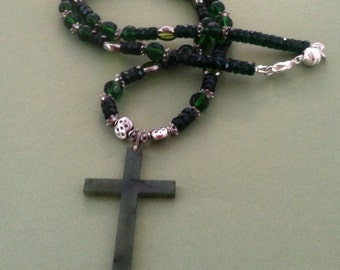 Jade Cross Pendant Green and Silver Beaded Necklace