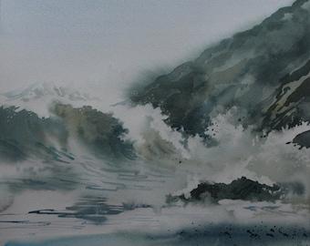 Original watercolour seascape painting of crashing waves, stormy sea, ocean surf, cornwall coast, wave barrel, seascape, coastal art, cliffs