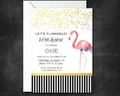 Flamingo Party Invitation, Gold Confetti Invitation, Let's Flamingle Invitation, Girl Birthday Invitation