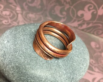 Copper hand forged leaf ring