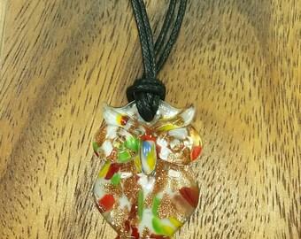 White Owl Necklace- Murano Glass Owl Pendant- Glass Necklace - Wisdom Necklace - Glass Bird Pendant - Handmade Owl Jewelry - White Glass