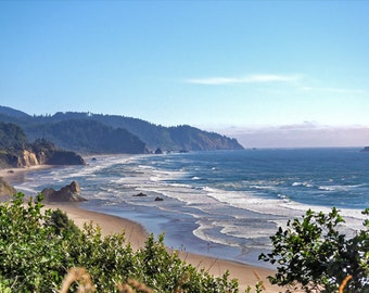 Oregon beach photograph, HDR photograph, blue, green, and tan, fine photography prints, Grandeur