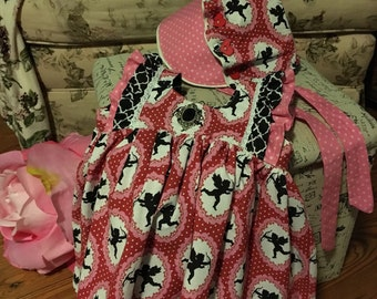Valentine's dress tunic and matching bonnet 2t