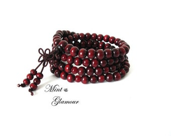 108 Mala Bead, Mala Bracelet, Buddhist Bracelet, Wood Bracelet, Mala Bead, Bead Bracelet, Red Bracelet, Buddhist Jewelry, Rosewood Mala Bead