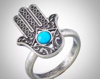 Hamsa Hand with Turquoise Stone Tibetan Silver Ring