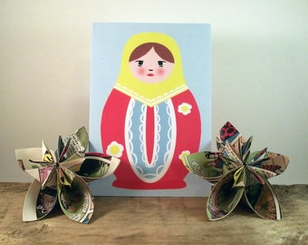 Matrayoshki (Russian Doll) greetings card