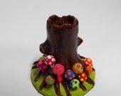 Trippy Hippie Tree Trunk shroom incense holder burner light brown