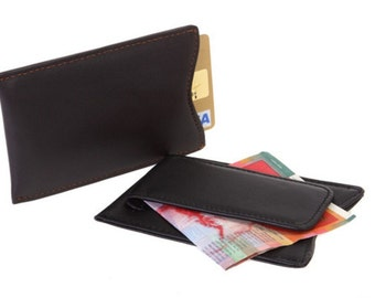 Mens Leather Money Clip Slim Wallet Black Brown ID Credit Card Holder Magnet 6389
