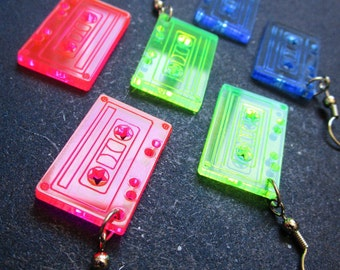 Tape Cassette Retro Earrings 80s Neon - Pink, Green & Blue Dangle Earrings