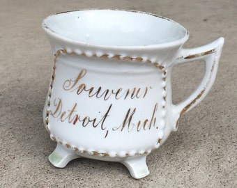 Old Antique Victorian Porcelain Souvenir Of Detroit, Michigan Cup Made In Germany L916C18