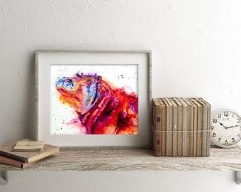 Hippo art print - hippo art, hippopotamus art, hippo lover gift, colorful hippo art, zoo animal art, nursery art, hippo wall art