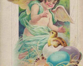"""1913 """"Loving Easter Thoughts"""" Easter Postcard Great Supplies for Scrapbook and Crafting Artisans"""