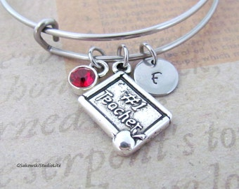Teacher Bangle Personalized Hand Stamped Initial Birthstone Antique Silver #1 Teacher Apple Charm Stainless Steel Expandable Bangle Bracelet