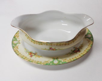 Empress China Gravy Bowl Japan 1930's Vintage Handpainted Gravy Bowl on plate Glenmore Pattern