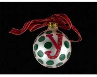 Coton Pottery Hand Painted Red Initial and Green Polka Dot Holiday Ornament