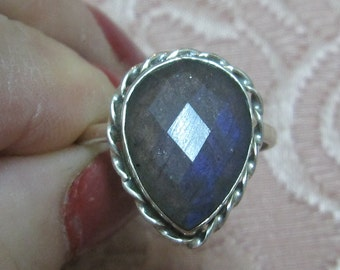 Faceted Labradorite Sterling Silver Ring Size 9 1/2