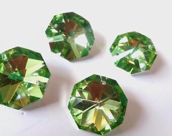 4 Chandelier Crystal Prism METALLIC GREEN 30mm Octagon Wedding Crystal Shabby Chic Pendant