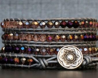 beaded bracelet- ombre purple to pink crystal on silver leather - boho wrap bracelet - orchid lavender