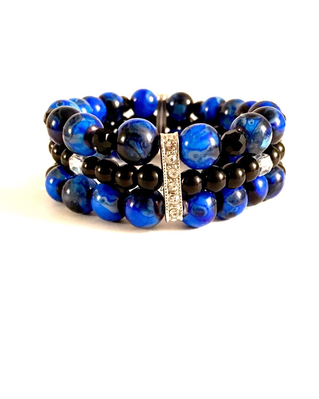 3 Tier Beaded Bracelet • Stack Bracelet • Layered Beaded ...
