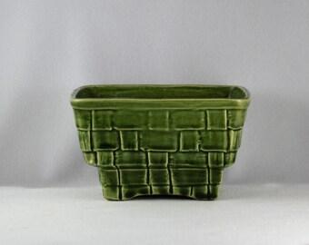 Attractive Heavy Green Brush Pottery USA 6 Basket Weave Mid Century Planter