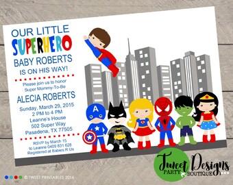 SUPERHERO BABY SHOWER Invitation, Printable Baby Shower Invitation, Superhero Baby Invitations, Superhero Invites, Baby Shower Superhero